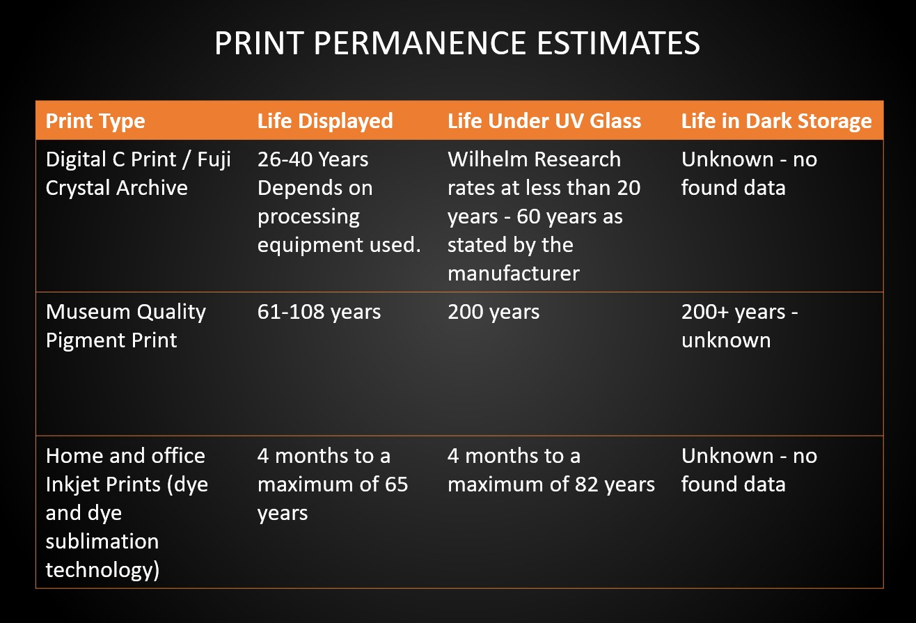print permanence fuji vs ink